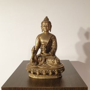 Brass Cast Carved Medicine Buddha