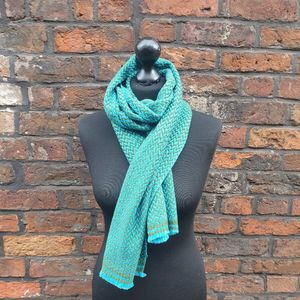 Woven Turquoise Cashmere Scarf