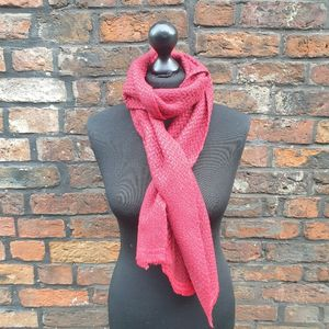 Woven Red Cashmere Scarf