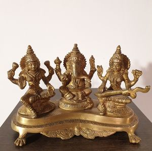 Brass Cast Statue of Ganesh, Laxmi and Saraswati