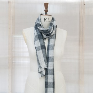 Grey Checked Cashmere Pashmina