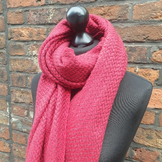 Red Handwoven Cashmere Shawl