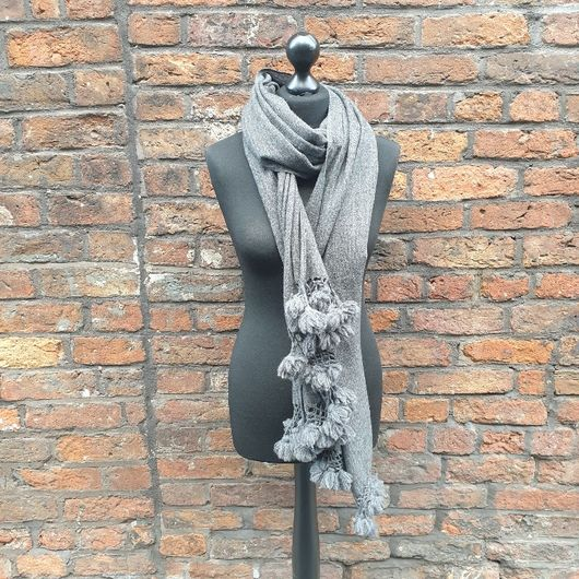 Charcoal Bobbled Cashmere Shawl