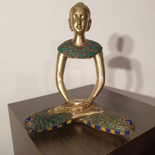 Turquoise Lapis and Coral Set Brass Buddha