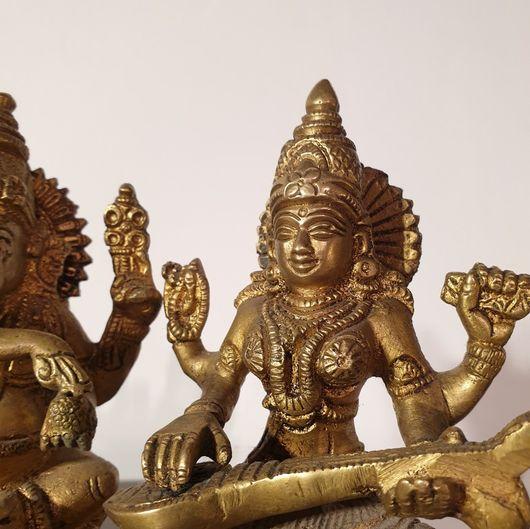 Brass Cast Statue of Ganesh, Laxmi and Saraswati