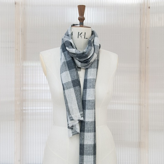 Grey & Charcoal Checked Cashmere Pashmina