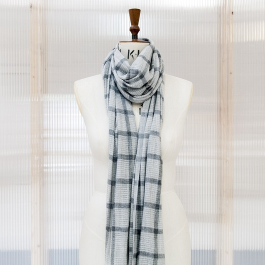 Pale & Dark Grey Checked Cashmere Pashmina