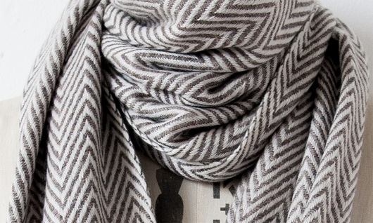 BROWN HERRINGBONE CASHMERE PASHMINA